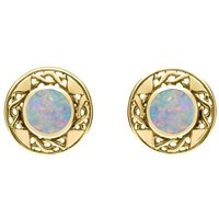 9ct Yellow Gold Opal Round Celtic Stud Earrings