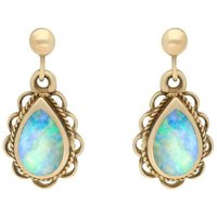 9ct Yellow Gold Oval Rope Frill Pear Drop Earrings