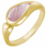 9ct Yellow Gold Pink Mother Of Pearl Toscana Offset Teardrop Ring