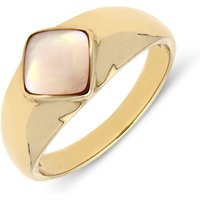 9ct Yellow Gold Pink Mother of Pearl Cushion Signet Ring
