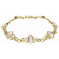 9ct Yellow Gold Pink Mother of Pearl Marquise Shaped Celtic Bracelet