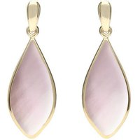 9ct Yellow Gold Pink Mother of Pearl Pointed Pear Drop Earrings