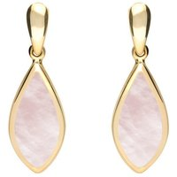 9ct Yellow Gold Pink Mother of Pearl Small Pointed Pear Drop Earrings