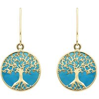 9ct Yellow Gold Turquoise Round Tree Drop Earrings