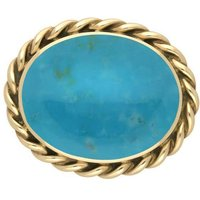 9ct Yellow Gold Turquoise Large Rope Twist Edge Brooch