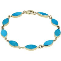 9ct Yellow Gold Turquoise Marquise Bracelet