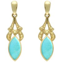 9ct Yellow Gold Turquoise Marquise Drop Earrings