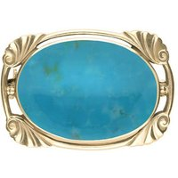 9ct Yellow Gold Turquoise Oblong Oval Shaped Brooch