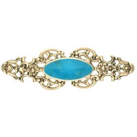 9ct Yellow Gold Turquoise Oval Fancy Brooch