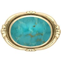 9ct Yellow Gold Turquoise Oval Fleur Brooch