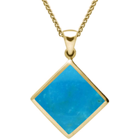 9ct Yellow Gold Turquoise Rhombus Necklace