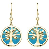 9ct Yellow Gold Turquoise Round Tree of Life Drop Earrings