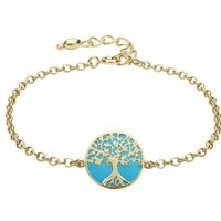 9ct Yellow Gold Turquoise Round Tree of Life Chain Bracelet
