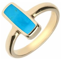 9ct Yellow Gold Turquoise Slim Oblong Ring