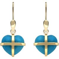 9ct Yellow Gold Turquoise Small Cross Heart Drop Earrings