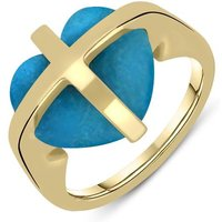 9ct Yellow Gold Turquoise Cross Heart Ring