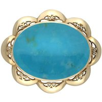 9ct Yellow Gold Turquoise Oval Scalloped Edge Brooch