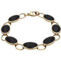 9ct Yellow Gold Whitby Jet Seven Stone Oval Bracelet