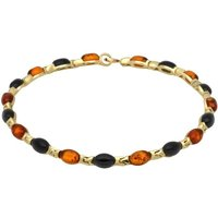 9ct Yellow Gold Whitby Jet Amber Nineteen Stone Marquise Link Bracelet