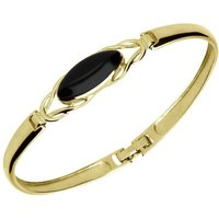 9ct Yellow Gold Whitby Jet Celtic Oval Clip Bangle