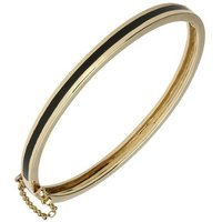 9ct Yellow Gold Whitby Jet Channel Set Hinged Bangle