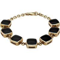 9ct Yellow Gold Whitby Jet Cushion Bracelet