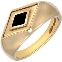 9ct Yellow Gold Whitby Jet Diamond Shape Signet Ring