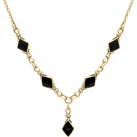 9ct Yellow Gold Whitby Jet Diamond Shaped Necklace