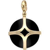 9ct Yellow Gold Whitby Jet Disc Open Cross Large Charm