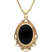 9ct Yellow Gold Whitby Jet Edwardian Oval Drop Necklace
