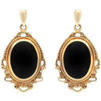 9ct Yellow Gold Whitby Jet Edwardian Style Oval Drop Earrings