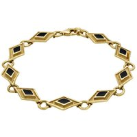 9ct Yellow Gold Whitby Jet Eight Stone Kite Framed Bracelet