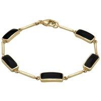 9ct Yellow Gold Whitby Jet Five Stone Oblong Bar Bracelet
