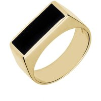 9ct Yellow Gold Whitby Jet Flat Top Signet Ring