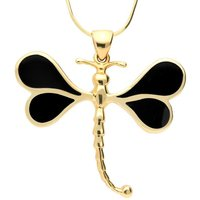 9ct Yellow Gold Whitby Jet Four Stone Dragonfly Necklace