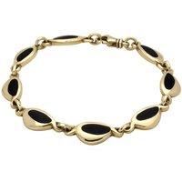 9ct Yellow Gold Whitby Jet Freeform Pebble Bracelet