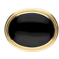9ct Yellow Gold Whitby Jet Large Classic Framed Oval Brooch