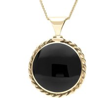 9ct Yellow Gold Whitby Jet Large Rope Edge Necklace