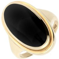 9ct Yellow Gold Whitby Jet Long Oval Top Hat Ring