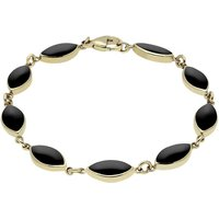 9ct Yellow Gold Whitby Jet Marquise Bracelet