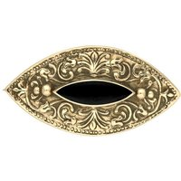 9ct Yellow Gold Whitby Jet Marquise Celtic Brooch