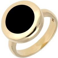 9ct Yellow Gold Whitby Jet Modern Framed Round Ring