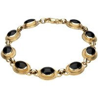 9ct Yellow Gold Whitby Jet Nine Stone Oval Bracelet