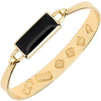 9ct Yellow Gold Whitby Jet Oblong Bangle