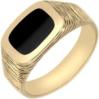 9ct Yellow Gold Whitby Jet Oblong Bark Effect Signet Ring
