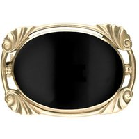 9ct Yellow Gold Whitby Jet Oblong Oval Shaped Brooch