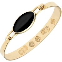 9ct Yellow Gold Whitby Jet Medium Oval Bangle