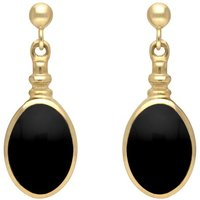 9ct Yellow Gold Whitby Jet Oval Bottletop Drop Earrings