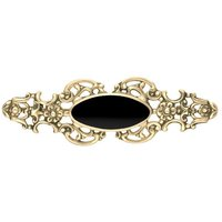 9ct Yellow Gold Whitby Jet Oval Fancy Brooch