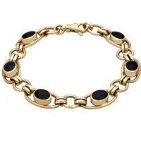 9ct Yellow Gold Whitby Jet Oval Loop Link Bracelet